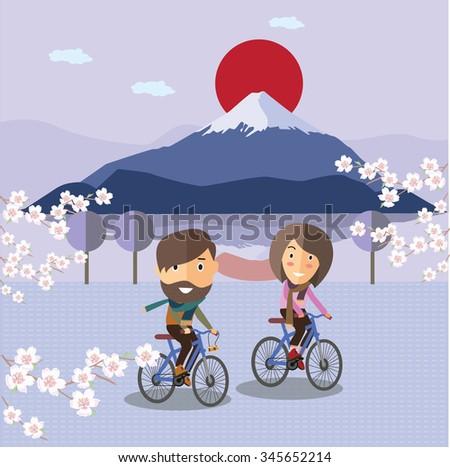 tourist ride a bicycle at Fuji mountain Japan - stock vector