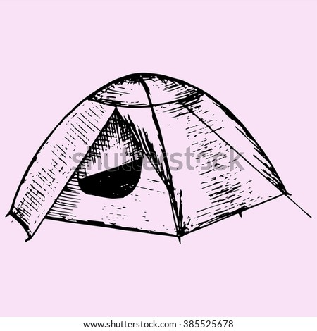 tourist tent doodle style sketch illustration hand drawn vector - stock vector