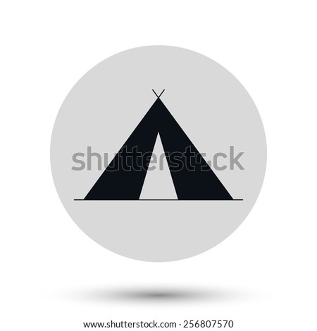 Tourist tent icon, black vector illustration. - stock vector