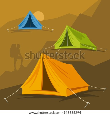 Tourist tent in different ways. Vector illustration on a hike in the mountains and outdoor recreation - stock vector