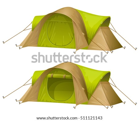 Tourist tent isolated on a white background