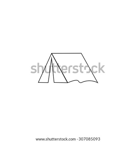 Tourist tent. Outline black simple vector pictogram
