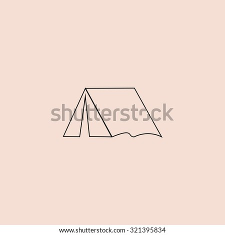 Tourist tent. Outline vector icon. Simple flat pictogram on pink background