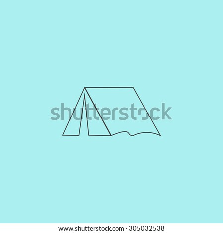 Tourist tent. Simple outline flat vector icon isolated on blue background
