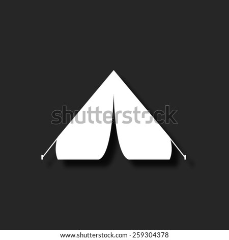 Tourist tent  - vector icon with shadow - stock vector