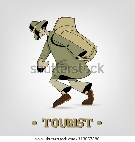 tourist traveler wanderer man backpack trip