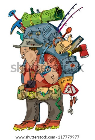 tourist with big and hevy backpack - cartoon - vector