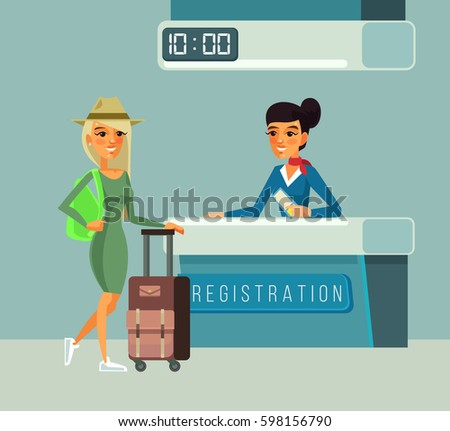 Tourist woman character registers for flight. Vector flat cartoon illustration