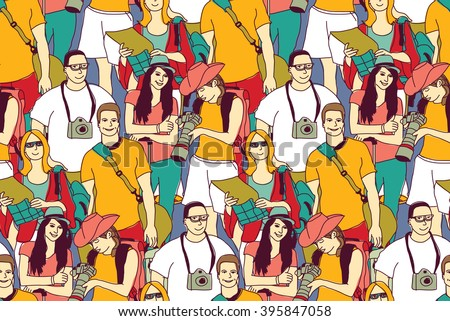 Tourists crowd people color seamless pattern. Color vector illustration. EPS8 - stock vector
