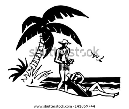 Tourists On Tropical Beach - Retro Clip Art Illustration - stock vector