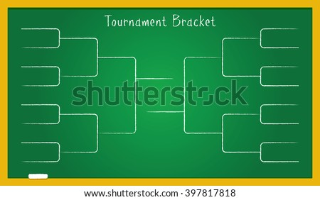 Tournament bracket on green school board. Vector illustration of tournament bracket for sport championship in football, college basketball league, soccer, tennis and other sport activities. - stock vector