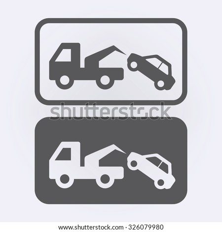 Tow Away No Parking Sign Set . Vector illustration - stock vector