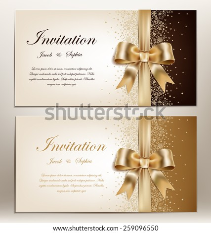 tow pretty wedding invitation with golden ribbon and bow. - stock vector