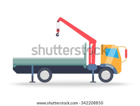 Tow truck. Caravan Services on transportation vehicles, towing services. Fast delivery truck icon isolated on white background. Delivery service van and post, delivery car icon - stock vector