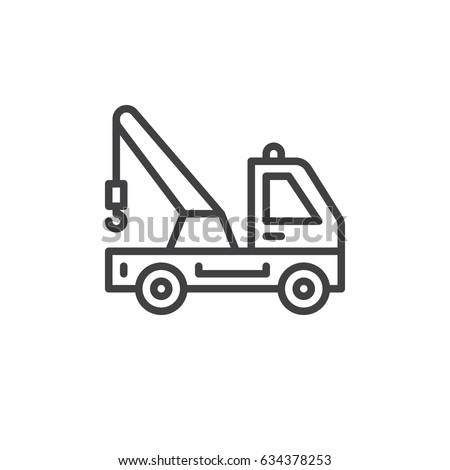 Tow Truck Line Icon Outline Vector Stock Photo Photo Vector