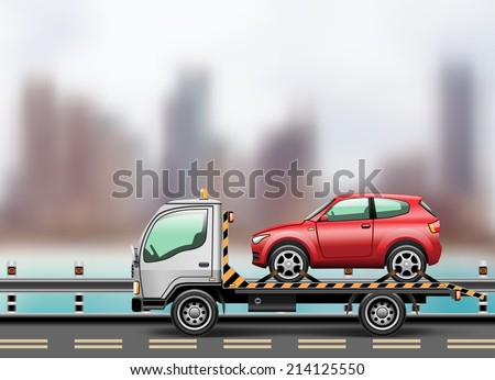 Tow truck loaded up the car against the background of the modern city to the beach. Vector illustration.