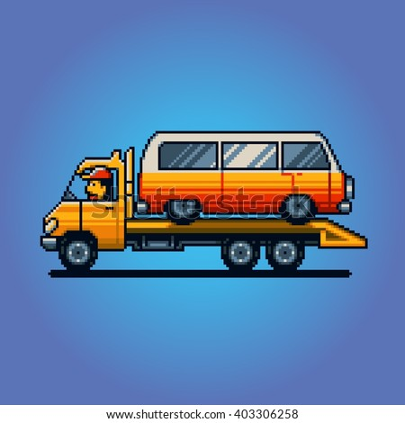 Tow truck pixel art game vector illustration