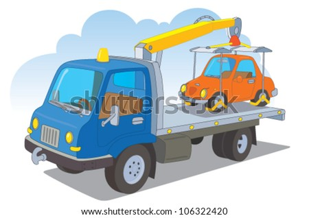 Tow truck with a passenger car - stock vector