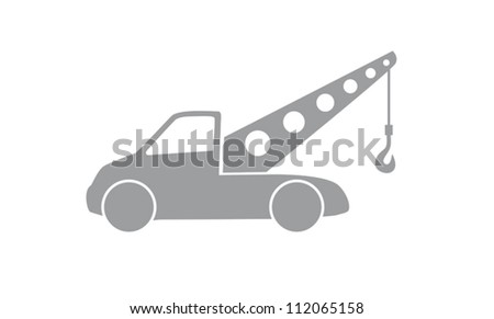 tow truck with car, illustration - stock vector