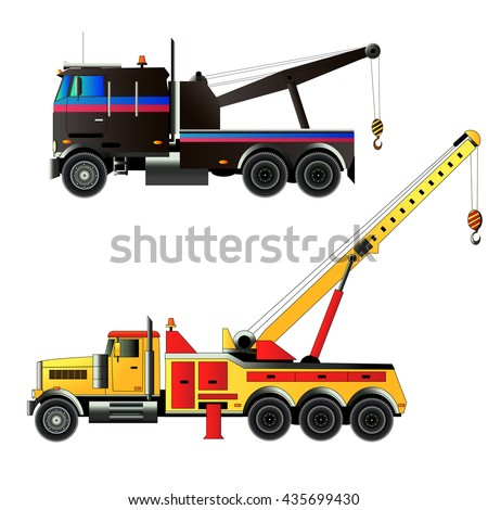 Tow trucks set. Vector illustration. Isolated on white.