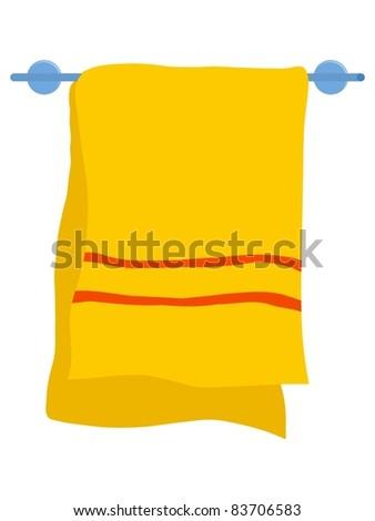 Towel on a hanger. Vector illustration - stock vector