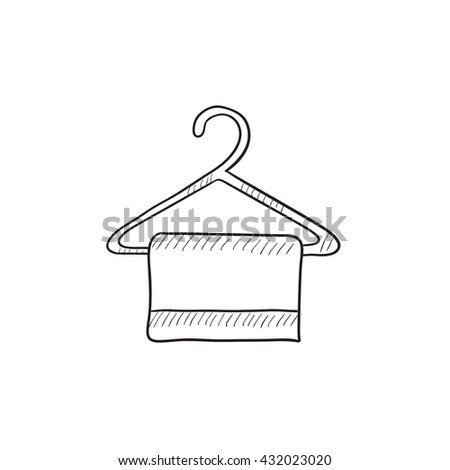 Towel on hanger vector sketch icon isolated on background. Hand drawn Towel on hanger icon. Towel on hanger sketch icon for infographic, website or app. - stock vector