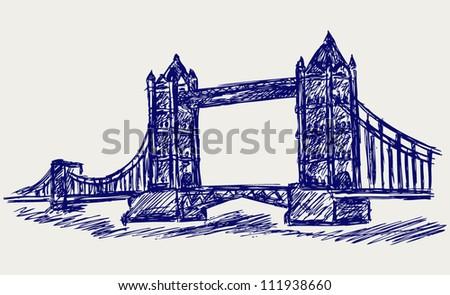 Tower Bridge. Doodle style - stock vector