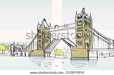 Tower Bridge, London, England, UK. Hand Drawn Illustration. Vector- hands sketch vector illustration - stock vector