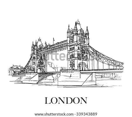 Tower Bridge London Uk Hand Drawn Stock Vector 339343889 - Shutterstock