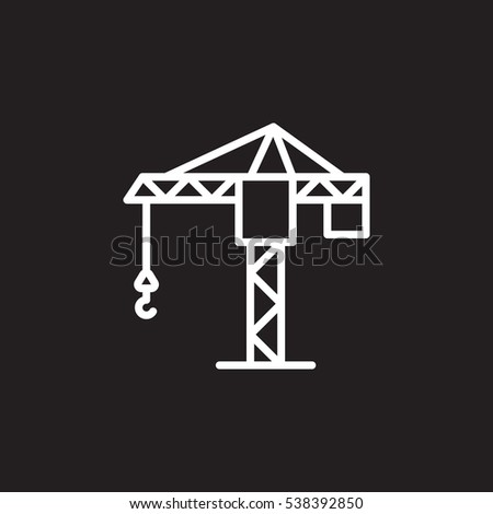 Tower crane line icon, outline vector sign, linear pictogram isolated on black. Symbol, logo illustration