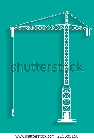tower crane with shadows icon vector illustrations - stock vector