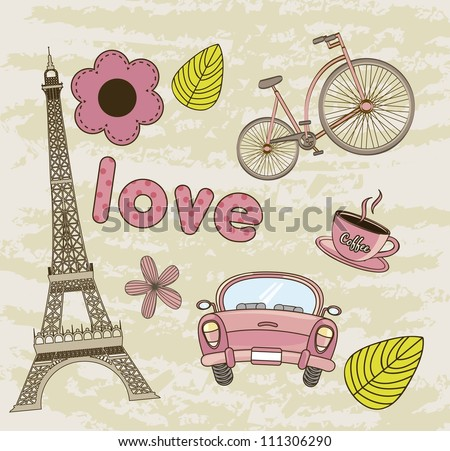 tower eiffel, coffee with car background. vector illustration - stock vector