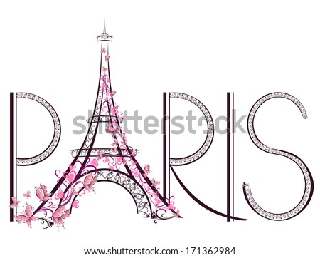 Tower Eiffel with Paris lettering.  Vector illustration  - stock vector
