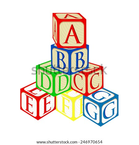 Tower from alphabet baby building blocks vector isolated - stock vector