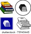 tower of books illustration sign and symbol - stock vector