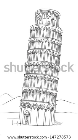 Tower of Pisa hand drawn vector illustration. Leaning Tower of Pisa, world heritage in Pisa, Tuscany, Italy