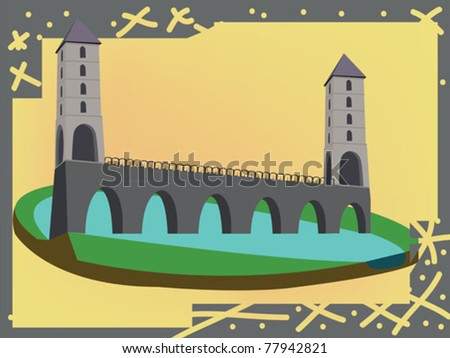 towers and bridge over a river