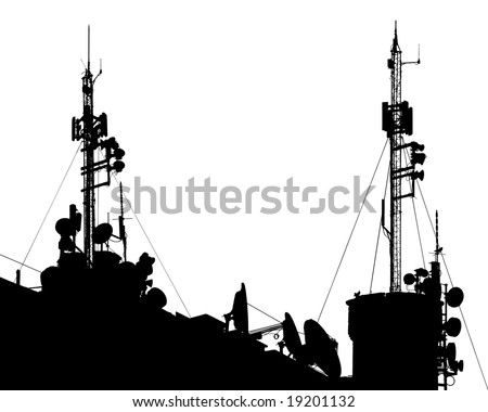 Towers, wired to wireless comm - stock vector