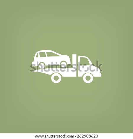 Towing truck vector icon