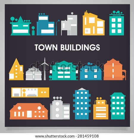 Town and city buildings and houses colored collection - stock vector