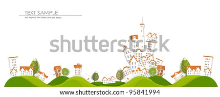 """Town and countryside  """"White city"""" collection - stock vector"""