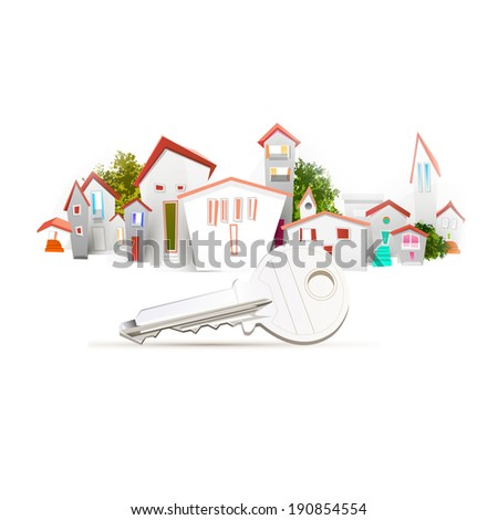 town and key - stock vector