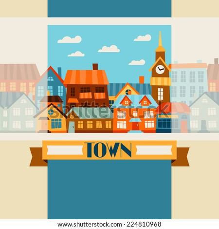 Town background design with cute colorful houses. - stock vector