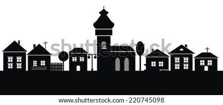 town, black silhouette - stock vector