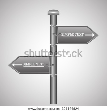 Town centre signposts  Vector illustration. - stock vector