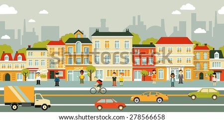 Town city street panoramic cityscape seamless background in flat style - stock vector