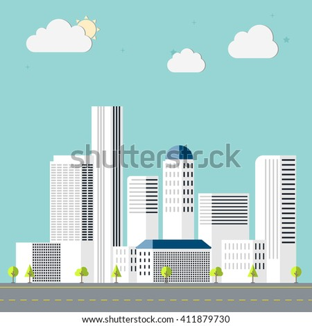 Town flat design downtown landscape illustration. Cityscape sets with various parts of a city: small towns or suburbs and downtown silhouettes. - stock vector