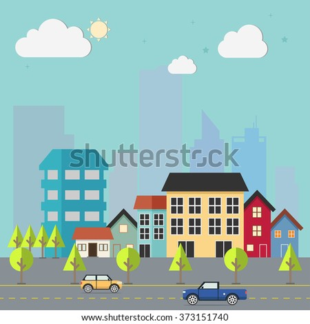Town flat design urban landscape illustration. Cityscape sets with various parts of a city: small towns or suburbs and downtown silhouettes. - stock vector