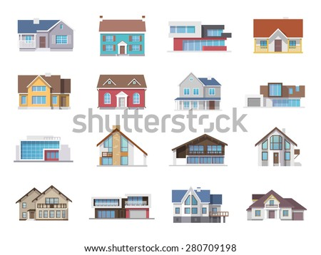 Town house cottage and assorted real estate building icons flat set isolated vector illustration - stock vector