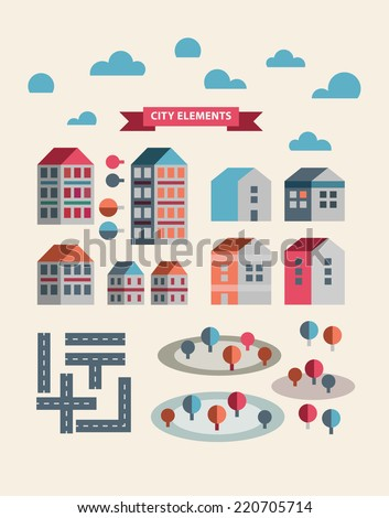 Town infographic elements. Vector city elements for create your own city map. Create your own town! Map elements for your pattern, web site or other type of design.Vector illustration. - stock vector